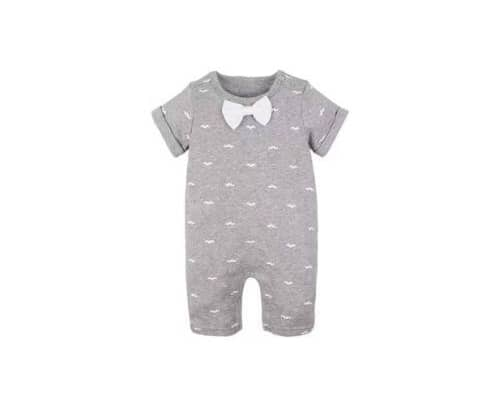 Carters Baby Romper Collar Grey