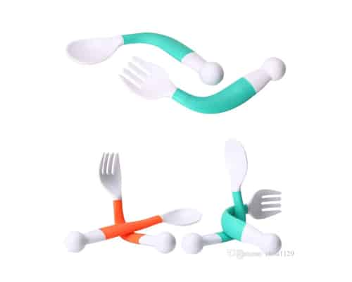 Sendok dan Garpu Bayi OEM Flexible Baby Spoon and Fork