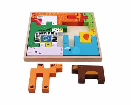 Mainan Edukasi untuk Anak Usia 2 - 3 Tahun 3D Animal Block Puzzle