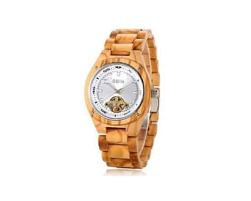 G Blife Mens Auto Mekanik Kayu Watch