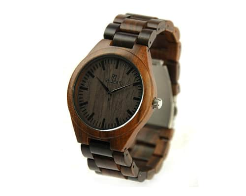 Redear-SJ1448 All Ebony Wood Quartz Business Watch