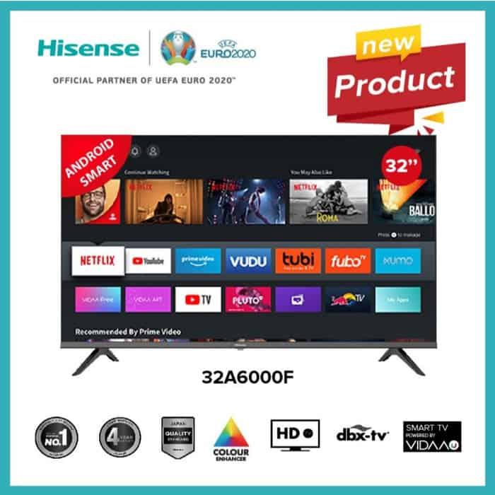10. Smart Tv Terbaik Juta : Hisense LED TV 32 Inch Android Smart TV 32A6000F