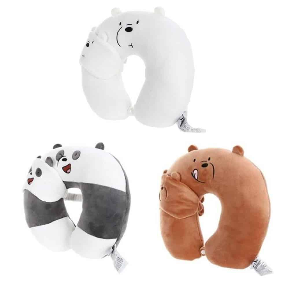 Bantal Leher Miniso Terbaik Miniso We Bare Bears U-shaped Neck Pillow with Blindfold