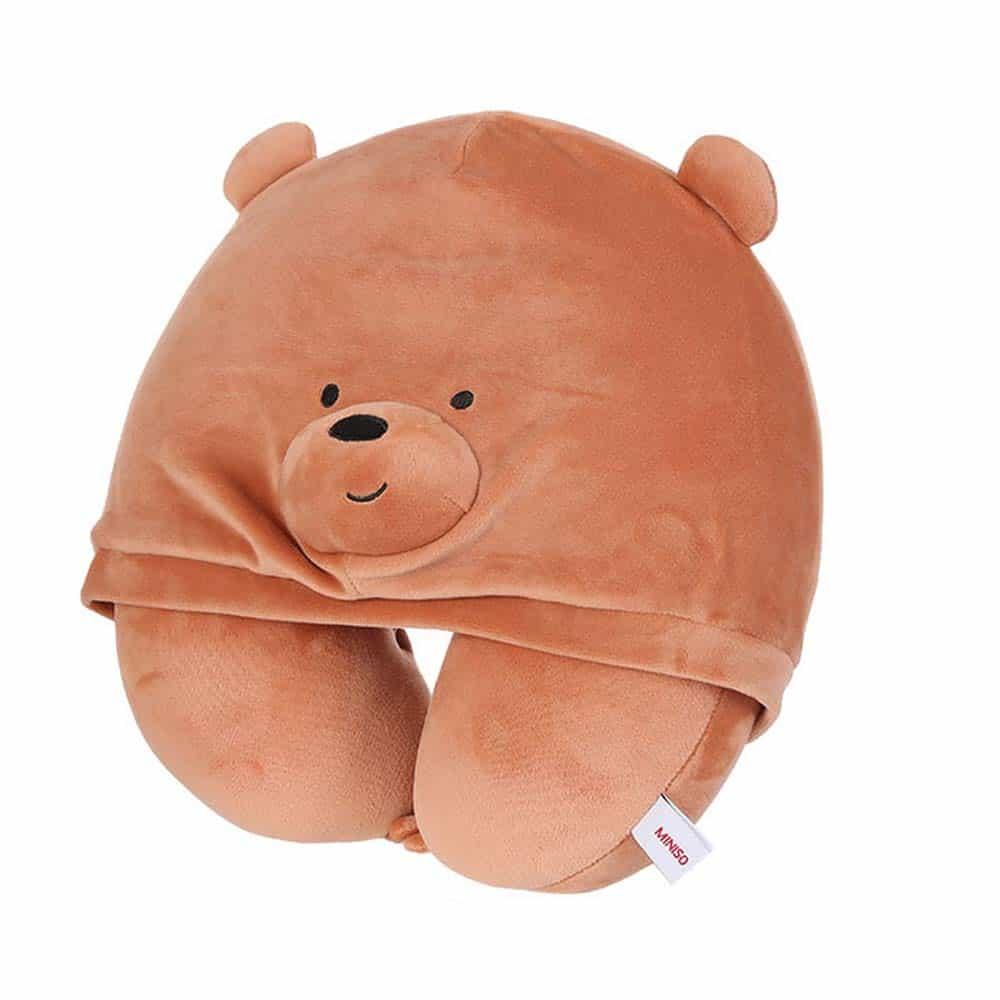 Bantal Leher Miniso Terbaik Miniso We Bare Bears U-Shaped Neck Pillow with Hoodie
