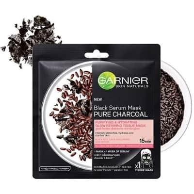 Sheet Mask Terbaik Garnier black serum mask pure charcoal black rice