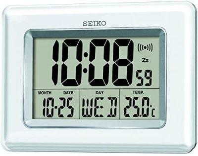 Jam Dinding Minimalis Terbaik Seiko Alarm Clock Iridescent White with Digital Display QHL058-W