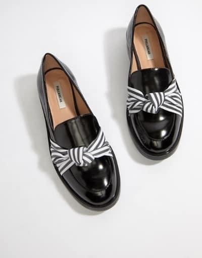 Sepatu Pantofel Wanita Terbaik Pull & Bear Loafers with Bow Detail