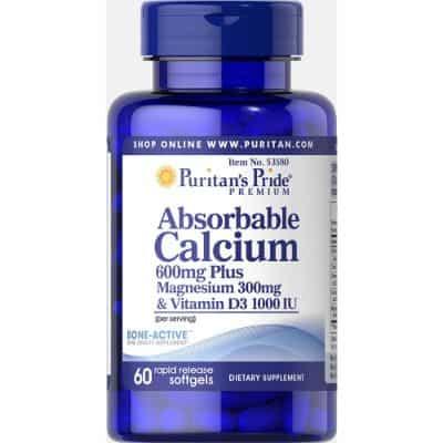 Suplemen Vitamin D Terbaik Puritan's Pride Absorbable Calcium 600mg plus Magnesium 300mg & Vitamin D 1000iu