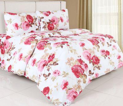 Sprei Katun Jepang Terbaik Lady Rose - Magenta Bunga Flora Putih Pink