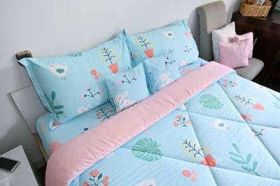 Sprei Katun Jepang Terbaik Leven Cotton - Nordic Blue x Takino Blush